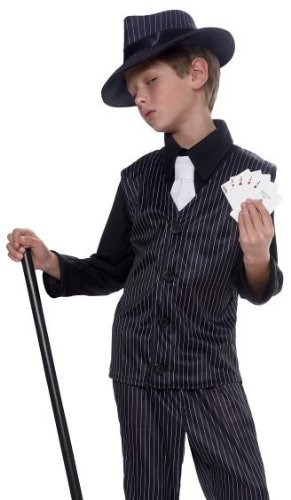 Kids Pinstripe Gangster Outfit Boys Halloween Costume M Medium (8-10) (Holloween Gangster Costume Children)