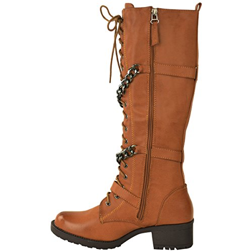 LADIES MILITARY Tan WOMENS MID HIGH Light CALF LACE PUNK COMBAT BIKER Faux KNEE UP Leather SHOES BOOTS wwrzqdt6