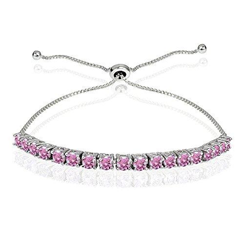 Sterling Silver 3mm Light Rose Round-cut Bolo Adjustable Bracelet made with Swarovski Crystals
