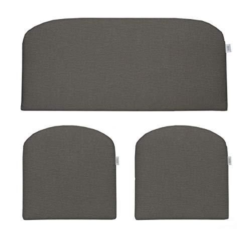 RSH Décor Indoor ~ Outdoor Sunbrella Canvas Charcoal 3 Piece Wicker Cushion Set - Foam Wicker Loveseat Settee & 2 Matching Chair Cushions ~ Dark Grey/Gray (41