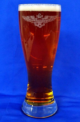 Custom Etched Navy Pilot Wings on 23 Oz Pilsner Glass Set of 4 PRE-HOLIDAY SALE
