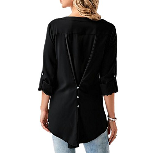 Col Newbestyle Femme lgant Printemps Chemise Automne Blouses Shirt V Manche Noir Dentelle Longues wUAYZ