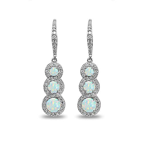 Sterling Silver Simulated White Opal Journey Halo Three-Stone Dangle Leverback Earrings - Halo Three Stone