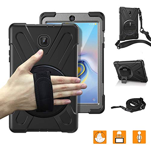Samsung Galaxy Tab A 8.0 Case 2018 with Hand Strap,SM-T387 Heavy Duty Three Layer Full-Body Rugged Protective Shockproof Case Cover with 360 Degree Rotatable Stand and Shoulder Strap for Kids,Black (Samsung Galaxy Tab A 2017 Release Date)