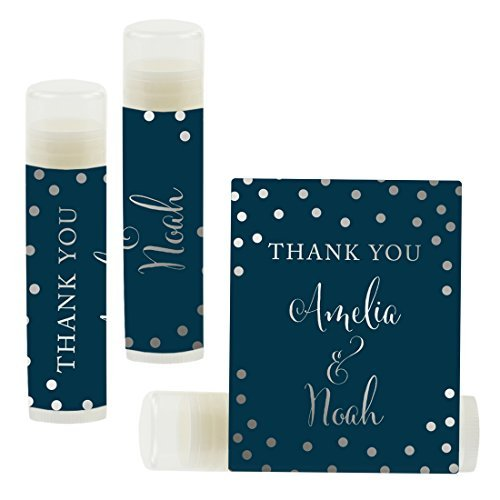 Andaz Press Personalized Wedding Party Lip Balm Party Favors, Metallic Silver Ink on Navy Blue, Thank You, Bride & Groom Names and Date, 12-Pack, Custom