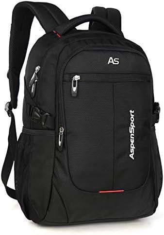 ASPENSPORT Laptop Backpack for Man Fit 15.6 Inch College Student Bookbag Business Travel Computer Bag Durable Waterproof Large Daypack Lightweight for Women Black