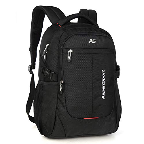 ASPENSPORT Laptop Backpack for Man Fit 15.6 Inch College Student Bookbag Business Travel Computer Bag Durable Waterproof Large Daypack Lightweight for Women Black