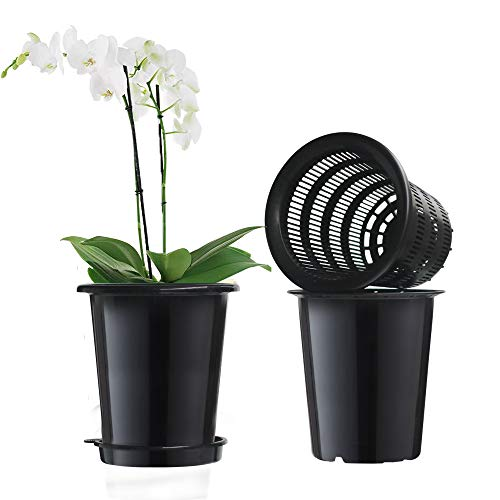 Meshpot 2Pcs 5 inches Plastic Orchid Pots with Holes - 2 Inner Pot,2 Outer Pot,2 Tray (2PCS Black)