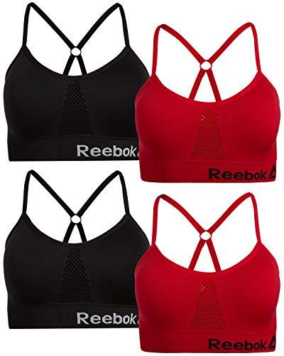 Reebok Women's 4 Pack Active Sports Bras (Black/Red, Small)' (Reebok One Bra)
