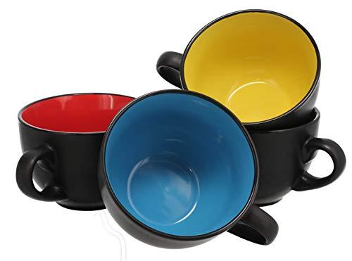- Jumbo Soup Bowl and Cereal Mugs Wide Ceramic Mug Set of 4, 24 Ounce, Matte Black
