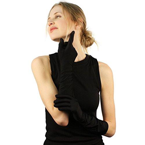 Elegant Satin Matte No Shine Stretchy Dressy Evening Below Elbow Gloves - Wedding Below Gloves Elbow