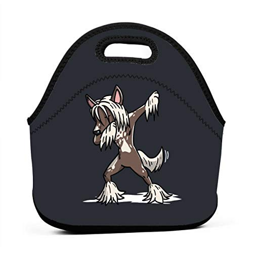 - LKJDAD Funny Dabbing Chinese Crested Dog Lunch Bag, Thick Insulated Lunchbox Bags,Tote Box with Zipper Closure for Kid Travel Picnic Office