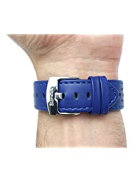 18mm Royal Blue Vented Racer Genuine Leather Watch Strap Band, with Stainless Steel Buckle, NEW!