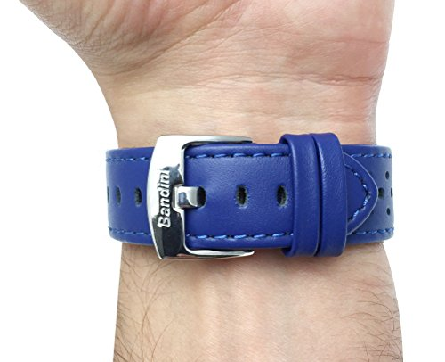 20mm Royal Blue Vented Racer Genuine Leather Watch Strap Band, with Stainless Steel Buckle, NEW!