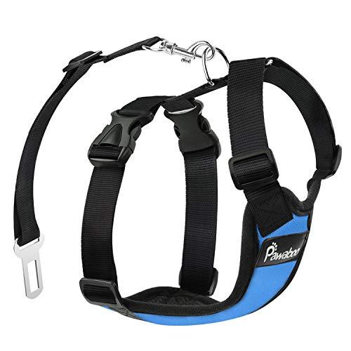 PAWABOO Dog Safety Vest Harness, Pet Dog Adjustable Car Safety Mesh Harness Travel Strap Vest with Car Seat Belt Lead Clip and Carabiner, Large Size, Blue