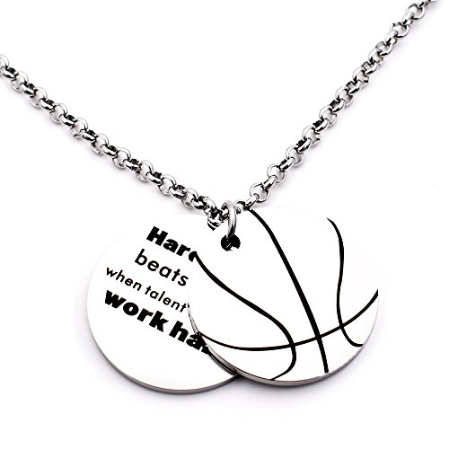 N.egret Hall of Fame Basketball Pendant Necklace Chain Sports Jewelry Inspirational Quote Baseball Gift teens Daughter Son (Basketball) (Pendant Sports Tag Necklace)