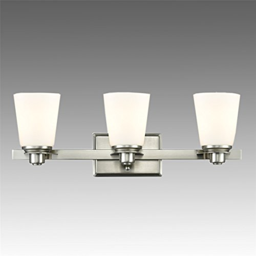 Dazhuan Modern Vanity Lights Triple White Opal Glass Shade 3-Light Powder Room Bathroom Wall Sconce Lighting Fixture Brushed (Bathroom Triple Sconce)