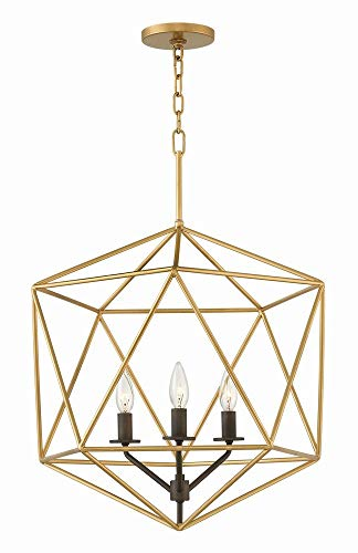Hinkley 3023DG Transitional Three Light Pendant from Astrid collection in Gold, Champ, Gld Leaffinish,
