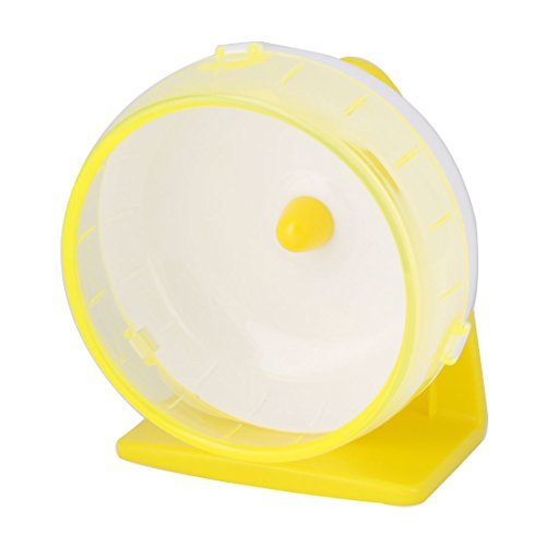 DealMux Plastic Pet Hamster Gerbil Play Stand Wheel Toy Holder Yellow w Suction Cup