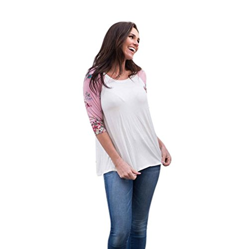 Top Marque Col Casual Manche lgant Rose Haut Longra Femme rond Fille Femme shirts Raglan shirt Original Femme Tee Chemisiers fleurs Taille Femme longue T Imprim Blouse Grande q4AxAwZX