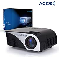 Acko Portable Mini HD LED Video Projector Office Home Theater 1200 LM Multimedia Outdoor 20-150 HDMI VGA USB AV SD Audio 1080P Smart Phone Tablet PC Computers Laptops Black Warranty Included