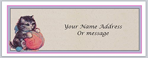 120 Personalized Address labels Primitive Country Kitten playing with ball of yarn (c 419)