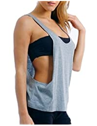 Smeiling Women Casual Sleeveless O-Neck Open Side Yoga Sports Vest Tank Top