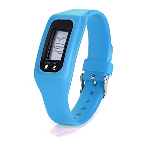 Iuhan® Fashion Digital LCD Pedometer Run Step Walking Distance Calorie Counter Watch Bracelet (Blue)