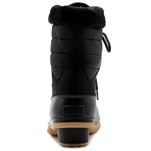 Fleece Duck Ollio Boots Up Women Shoe Snow Lace Black Quilted Nylon RBaYHBwq