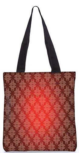 """Snoogg Abstrakten Roten Muster-Einkaufstasche 13,5 X 15 In """"Shopping-Dienstprogramm Tragetasche Aus Polyester Canvas"""