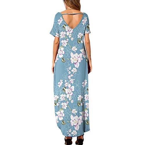 TWGONE Maxi Dresses For Women Summer Short Sleeve Loose Pocket Split Long Dress (X-Large,Blue) by TWGONE (Image #1)