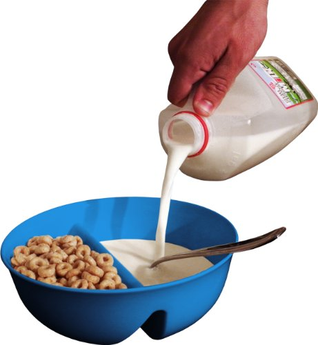 Just Crunch Anti-Soggy Cereal Bowl - Keeps Cereal Fresh and Crunchy | BPA Free | Microwave Safe | For Ice Cream & Topping, Yogurt & Berries, Fries & Ketchup and More - Blue