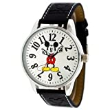 Disney Watch Mickey Mouse Jumbo Round Face Black Band Style