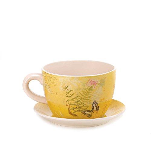 Herb Cup Saucer (Koehler Home Decor Garden Butterfly Teacup Planter)