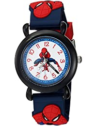 Boys Spider-Man Analog-Quartz Watch with Plastic Strap, Blue, 16 (Model: WMA000162