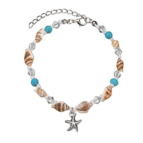 Orcbee  _Women's Starfish Shell Beach Foot Chain Conch Sandal Anklets Beads Bracelet -