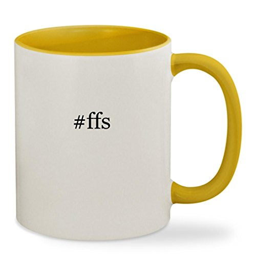 #ffs - 11oz Hashtag Colored Inside & Handle Sturdy Ceramic Coffee Cup Mug, Yellow
