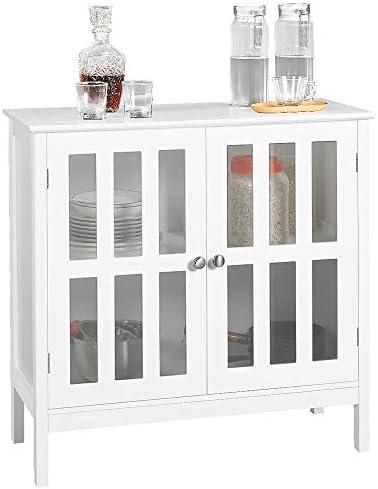 picture of Yaheetech Storage Sideboard Buffet, Wooden Storage Cabinet - Glass Door