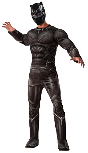Captain America Avengers Costume Boots (Marvel Men's Captain America: Civil War Deluxe Muscle Chest Panther Costume, Black, Standard)