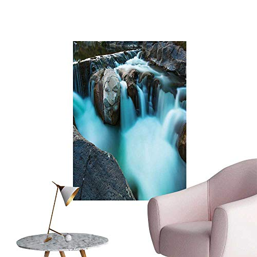 - Vinyl Wall Stickers Basalt Rocks Rural Scenery NATI al Park Woods Sky Blue Grey Green Perfectly Decorated,24