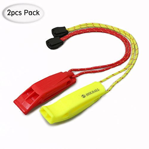 HOLDALL Emergency Safety Whistle with Lanyard for Boating Hiking Kayak Life Vest Survival Rescue (Waterproof Whistle)
