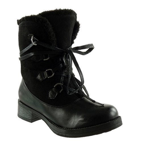 boots Black fur Angkorly high biker 4 cavalier Block Fashion Shoes Booty combat Ankle Women's heel CM boots buckle TvT8rw