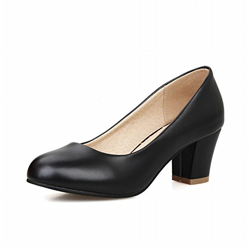 Latasa Womens Casual Chunky Mid-heel Round-toe Pumps Shoes, Work Shoes Black