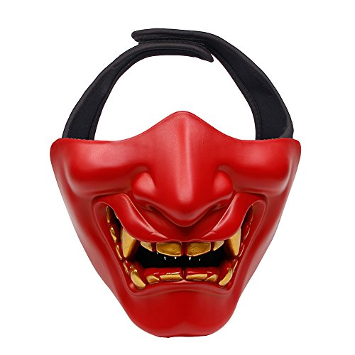 Outry Half Face Mask - Lower Face Protective Tactical Mask for Airsoft/Paintball/BB Gun/CS Game/Hunting/Shooting, Ideal Mask for Halloween, Cosplay, Costume Party and Movie Prop (Red)
