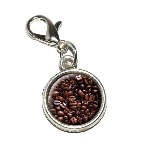 Graphics and More Coffee Beans Antiqued Bracelet Pendant Zipper Pull Charm with Lobster Clasp