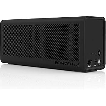 BRAVEN 805 Portable Wireless Bluetooth Speaker [18 Hours Playtime] Built-In 4400 mAh Power Bank Charger - Black / Black