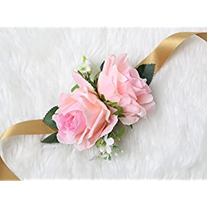 Secret Garden Wrist Corsage Rose Flower Pretty Wedding Bridal Bridesmaids (Classic Pink) 12