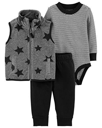 Carter's Baby Boys' 3 Piece Little Vest Set (3 Months, Star)