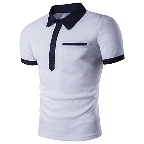 FUNIC Men's T-Shirt, Men Slim Short Sleeve Casual Polo Shirt T-shirts Tee Tops (Medium, White)