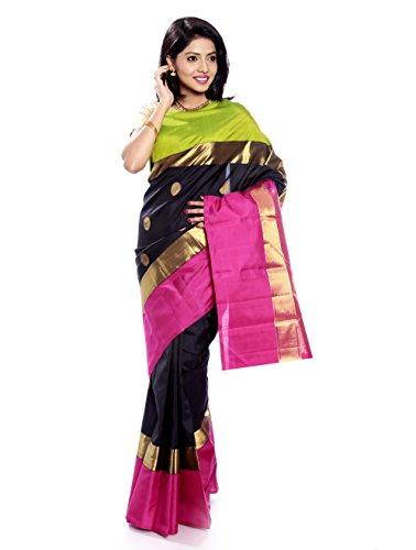 Mandakini — Indian Women's Kanchipuram - Handloom - Pure Zari & Pure Silk Saree (Black ) (MK214) by Mandakini